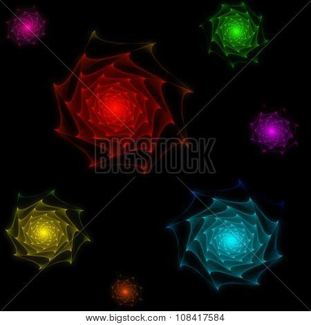 Fractal roses with spiky petals, glowing on black background