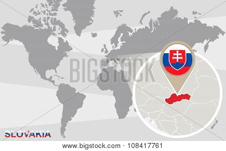 World Map With Magnified Slovakia