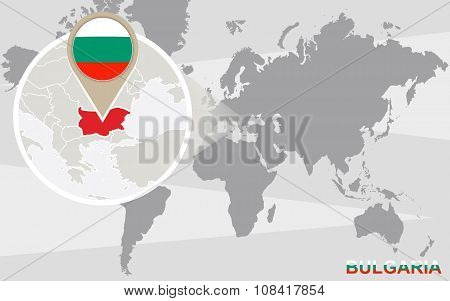 World Map With Magnified Bulgaria