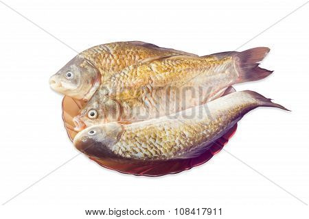 Three Carps On Dish, Prepared For Cooking