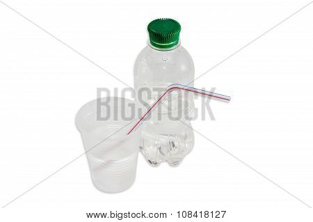 Water Bottle, Plastic Cup With Water And Drinking Straw