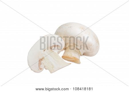 One Whole And One Half Of Champignon Mushroom