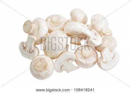Pile Of Champignon Mushroom On A Light Background