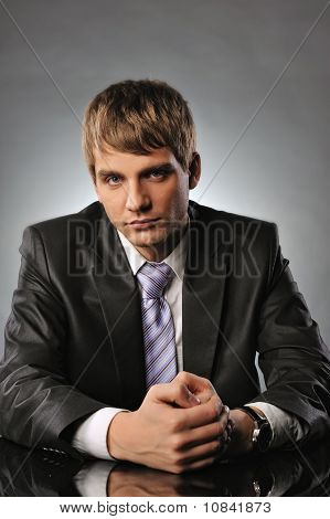 Serious young businessman
