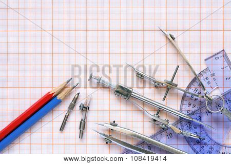 Drawing Instrument On Graph Paper