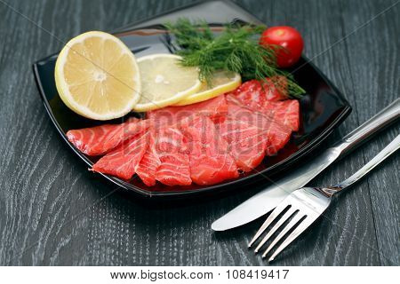 Sliced Salmon On Plate