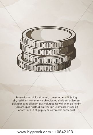Stack of coins on grunge background.