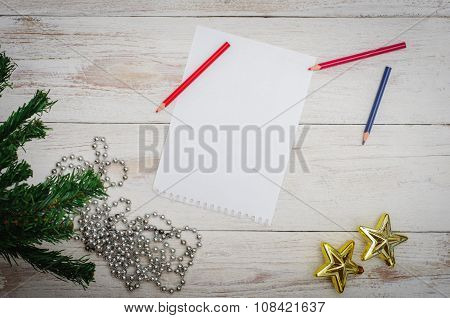 Man Writing Letter To Santa In Christmas Situation