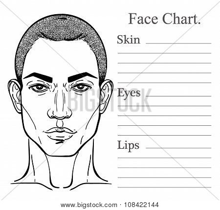Male face chart make up artist blank.