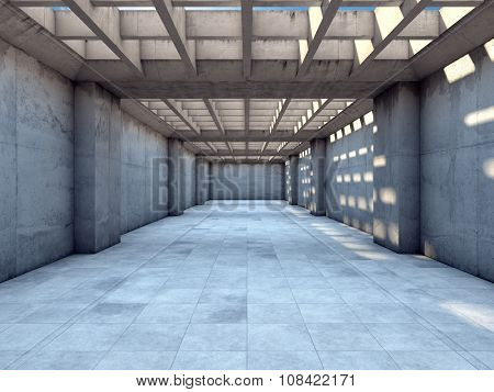 Long tunnel of concrete illuminated by sunlight