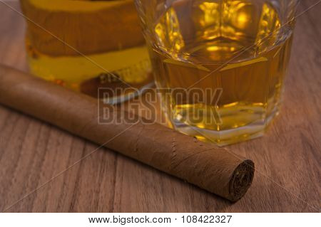 Cigar with whiskey