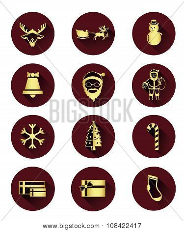 Gloden flat icons of Santa claus and Christmas Day