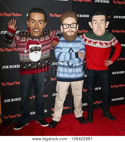 NEW YORK-NOV 16: (L-R) Walkabouts Anthony Mackie, Seth Rogen and Joseph Gordon-Levitt attend the screening of
