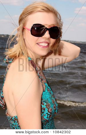 Beautiful Young Woman  On The River  Beach