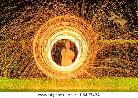 The fire dancing