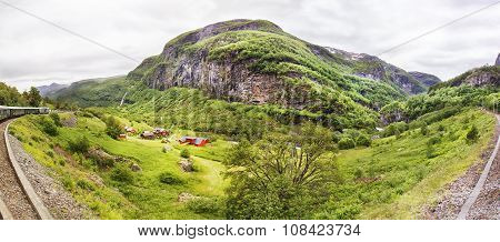 Panoramic View On Nature Of Norway From The Passenger Train. Flam, Norway.