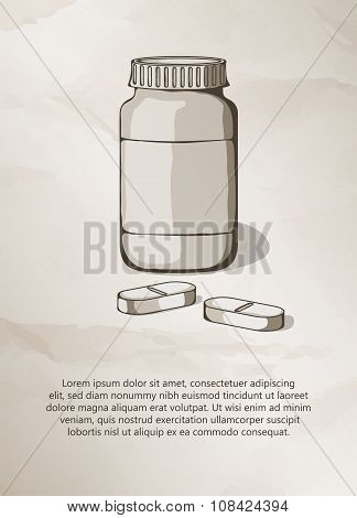 Blank medicine bottle and pills.