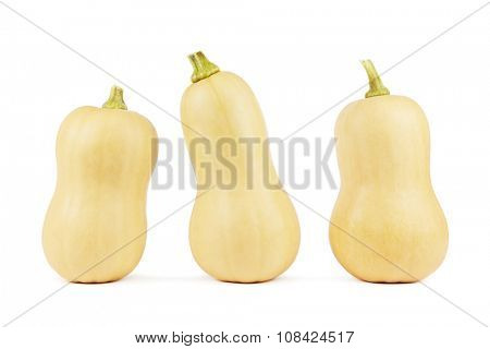 Three butternut squashes on a white background