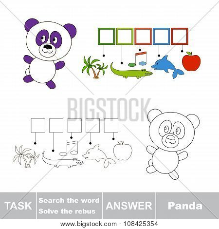 Vector game. Find hidden word Panda. Search the word.