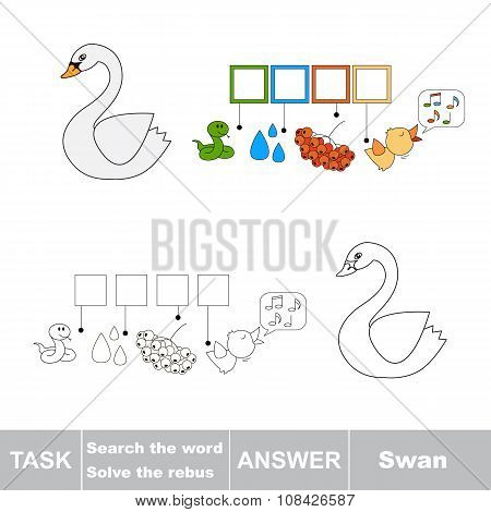 Vector game. Find hidden word Swan. Search the word.