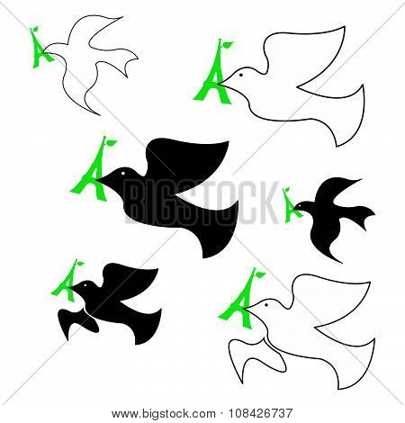 Illustration Vector Set Of Dove Of Peace With Green Eiffel Tower In Its Beak.