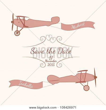 Retro planes with a wedding banner and names of newlyweds