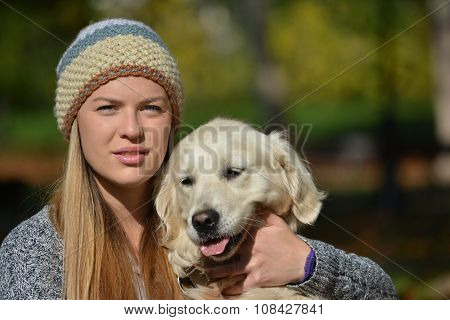 Portrait Of Girl And Dog