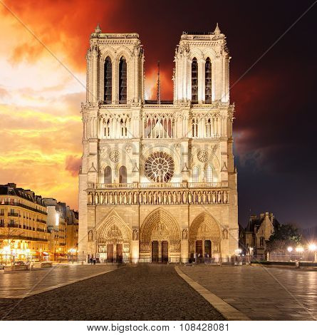 Notre Dame Cathedral At Dusk In Paris, France