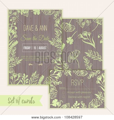 Vector ink watercolor save the date card and rsvp in rustic style with leaves and flowers.