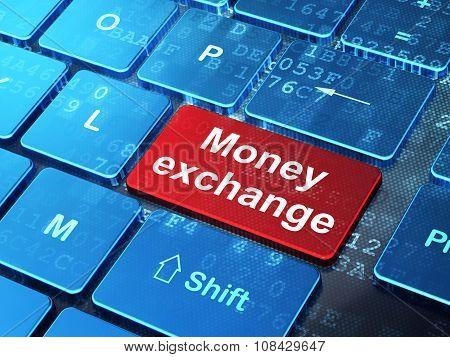 Money concept: Money Exchange on computer keyboard background