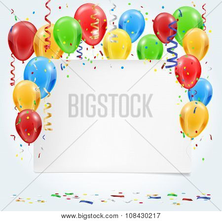 Empty Party Invitation With Balloons And Confetti Flying