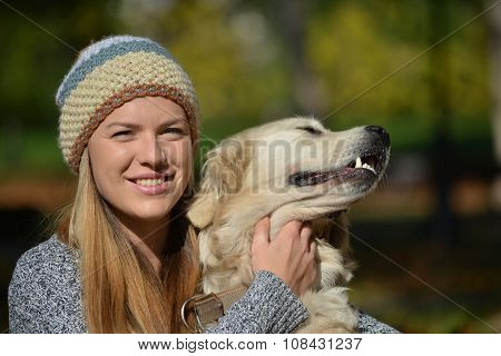 Golden Retriever And Girl