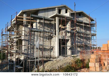 ?onstruction For Building Of New Large Three-storeyed Cottage Is In Little Resort Town