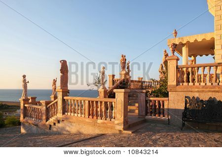 Large Parade Stair Is Decorated Ancient Statues And Modelling, Anchorwoman In  Palace