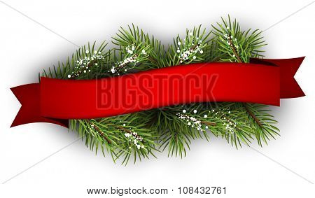 Festive background with fir branch and ribbon. Vector illustration.