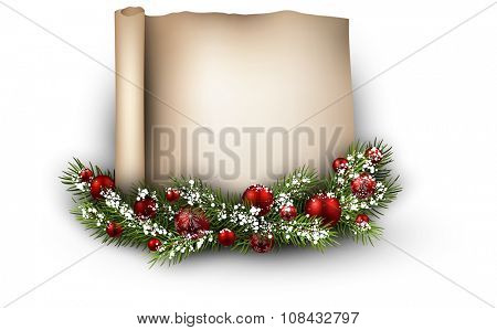 Christmas congratulatory background with fir branch. Vector illustration.