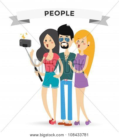 Selfie family portreit vector illustration
