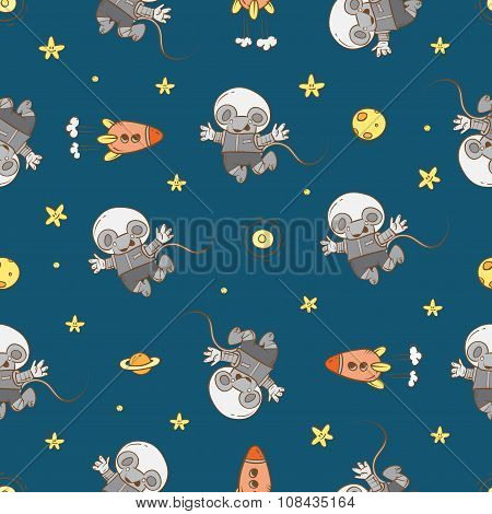 Pattern With Little Cartoon Mice Astronauts.
