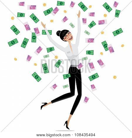 Money Falling On Business Woman