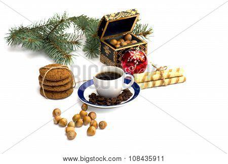 Fir-tree Branch, Oat Baking, Forest Nutlets, Coffee And Casket