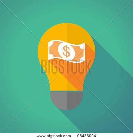 Long Shadow Vector Light Bulb With A Dollar Bank Note
