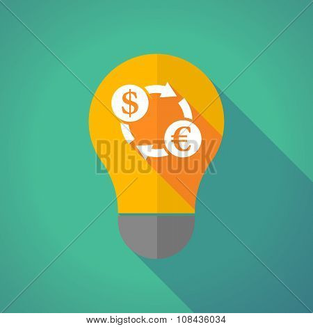 Long Shadow Vector Light Bulb With A Dollar Euro Exchange Sign