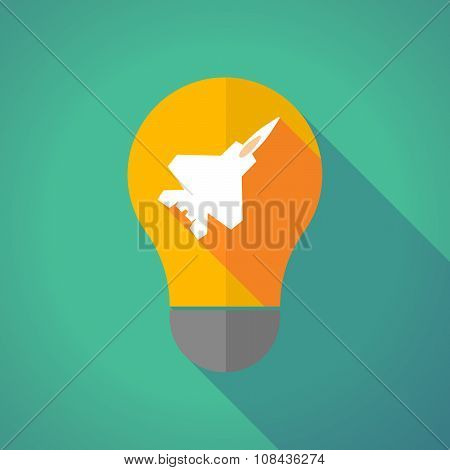 Long Shadow Vector Light Bulb With A Combat Plane