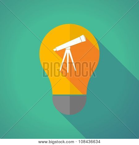 Long Shadow Vector Light Bulb With A Telescope