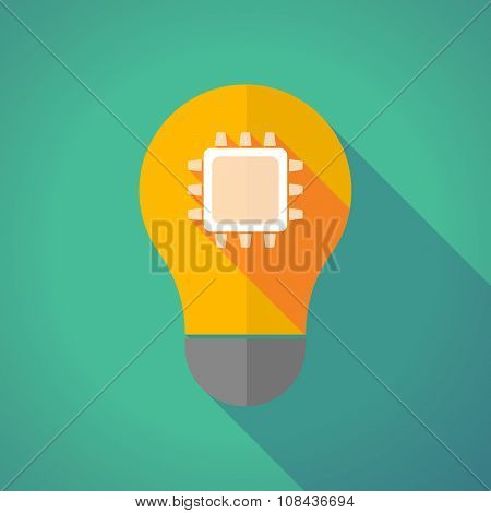 Long Shadow Vector Light Bulb With A Cpu
