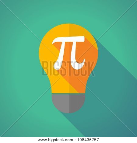 Long Shadow Vector Light Bulb With The Number Pi Symbol