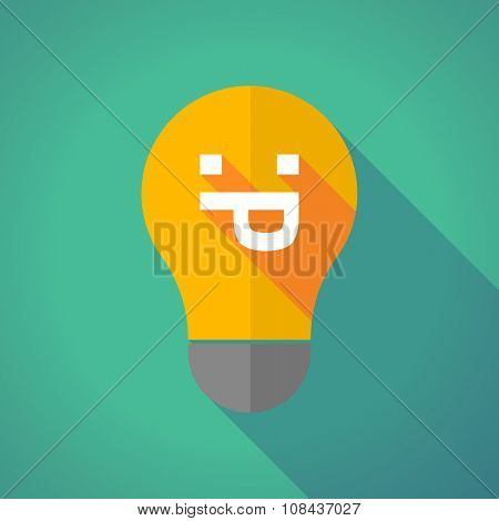 Long Shadow Vector Light Bulb With A Sticking Out Tongue Text Face