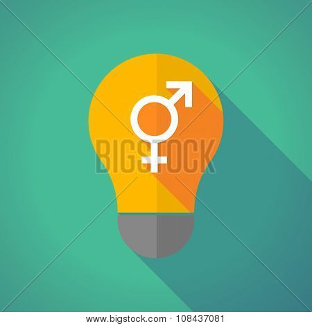 Long Shadow Vector Light Bulb With A Transgender Symbol