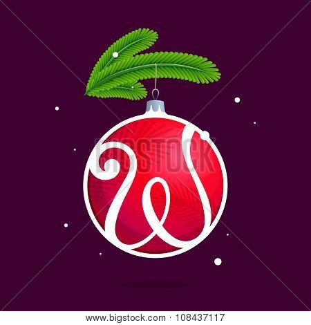 W Letter With Christmas Red Ball And Fir Branches.