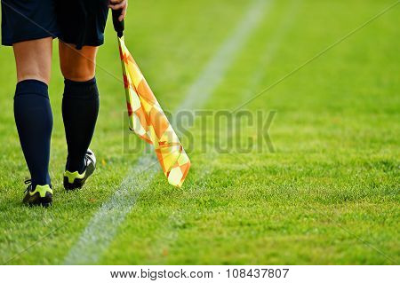 Assistant Referee On Soccer Field